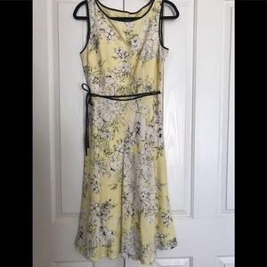 Romantic Yellow, Wht & Blk Adrianna Papell Dress